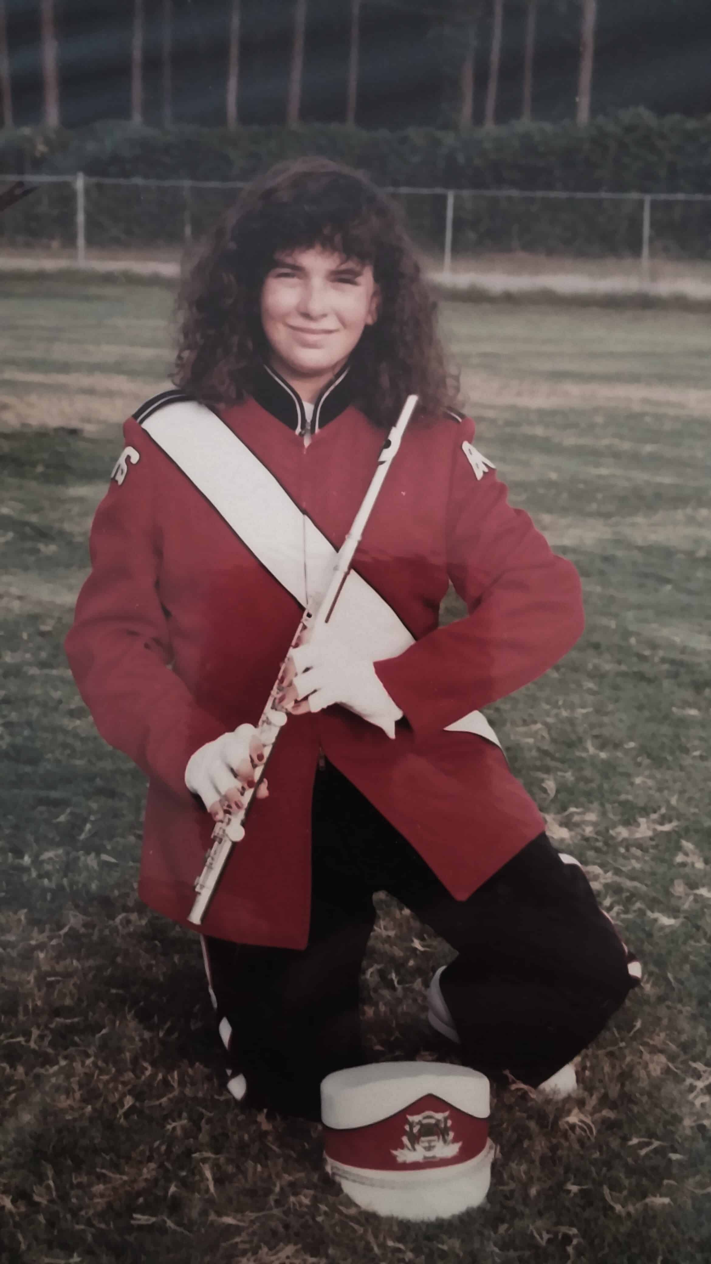 Wendi Wilson in marching band uniform